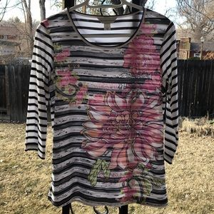 Christopher and Banks floral multiprint T-shirt